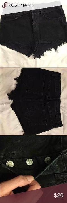 John Galt/Brandy Melville Highwasted Denim Shorts Never worn. High wasted denim shorts from Brandy Melville website Brandy Melville Shorts Jean Shorts