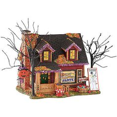 Dept 56 Halloween Snow Village Halloween Party House 4051008 Lighted Building