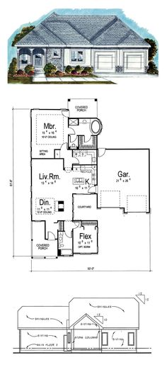 House Plan 44029 - Mediterranean, One-Story Style House Plan with 1438 Sq Ft, 2 Bed, 2 Bath, 2 Car Garage Courtyard House Plans, Best House Plans, First Story, Dormitory, Entry Foyer, Car Garage, Living Area, Building A House, Bathrooms