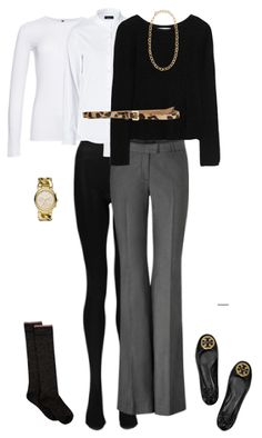 Outfit Posts: outfit post: white button down shirt, black sweater, grey pants, leopard belt, black flats