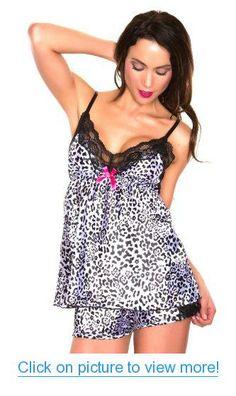 Women's Sexy Lace and Leopard Babydoll Sleepwear Pajama Set