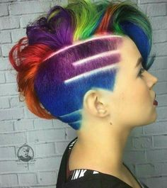 Rainbow shaved side pixie