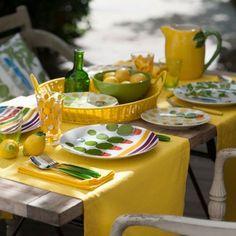 La déco de table aux couleurs du printemps : Assiette Le temps dun été de Geneviève Lethu