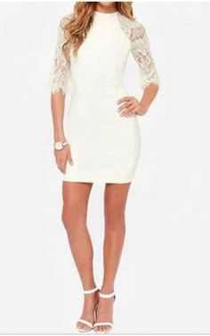 fe652749d7 White Lace Splice Bodycon Dress