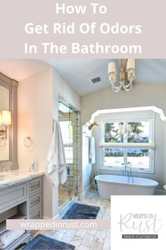 A bathroom is a room that can sometimes get really stinky. You know what I mean. You have to plug your nose just to go in. Well, Wrapped In Rust can help. No more will you need to worry about a stinky bathroom. Want to know how to get rid of those odors? Read this post for easy tips that work. #wrappedinrustblog #cleaningtips #removeodors #airfresheningtips Bathroom Cleaning Checklist, Cleaning Bathroom Tiles, Bathroom Cleaning Hacks, Toilet Cleaning, House Cleaning Tips, Clean Shower Grout, Clean Bathtub, Clean Refrigerator, Clean Bedroom