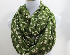 Olive Green Bird on Tree Branch Infinity Scarf Birdy Loop Scarf Chunky Bird Infinity Scarf Christmas Gift Cute Gifts Holiday Shopping