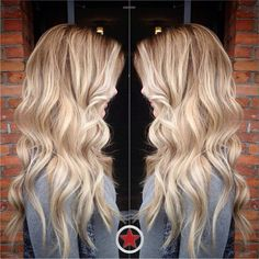 Loving this beachy style & colour #blonde #wavyhair