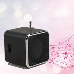 1pcs Micro SD TF USB Mini Stereo Speaker black Aluminum alloy Portable Music Player FM Radio PC MP3 /4 speakers