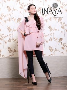 Studio Libas Inaya Luxury Pret Collection Designer Tunic with Diamond n Feather handwork Designer high-low Cigarette Bow Pants festive Collection Singles Wholesale Supplier from Surat in Best Price - Full Catalog Price - INR Pakistani Fashion Party Wear, Pakistani Dresses Casual, Pakistani Dress Design, Stylish Tops For Women, Stylish Dresses For Girls, Simple Dresses, Tunic Designs, Kurta Designs Women, Designs For Dresses
