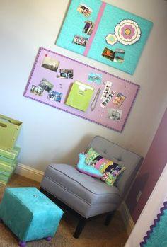 Teen bedroom redo - love the bulletin boards