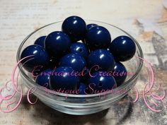 20mm Navy Blue Solid Acylic Beads Qty 10 by enchantedsisters, $2.00