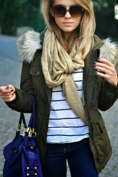 Adorable Outfit - Grey Jacket and Amazing Scarf, Dark Blue Jeans, Blouse and Suitable Blue Handbag