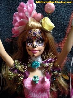 Your place to buy and sell all things handmade Doll Head, Doll Face, Barbie Clothes, Barbie Dolls, Zombie Crafts, Barbie Painting, Day Of The Dead Mask, Doll Repaint, Monster High Dolls
