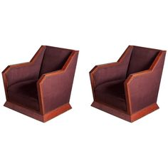 La Maitrise Cubist Pair of Club Chairs | From a unique collection of antique and modern club chairs at https://www.1stdibs.com/furniture/seating/club-chairs/
