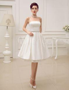 Vintage Spaghetti Straps Backless Satin Short Wedding Dress with Pearls At Waist - Milanoo.com