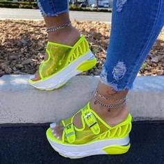 Material: PVC Slipper Type: Flip Flop Heel Type: Wedge Heel Heel Height: Ultra-High Heel Closure Type: Slip-On Platform Height: Suitable Occasion: Casual Pattern: Patchwork Embellishment: Hollow,Platform,Buckle Season: Summer * Heeled Flip Flops, Wedge Flip Flops, Fashion Sandals, Sneakers Fashion, Strap Sandals, Strap Heels, Ankle Strap, Hype Shoes, Casual Heels