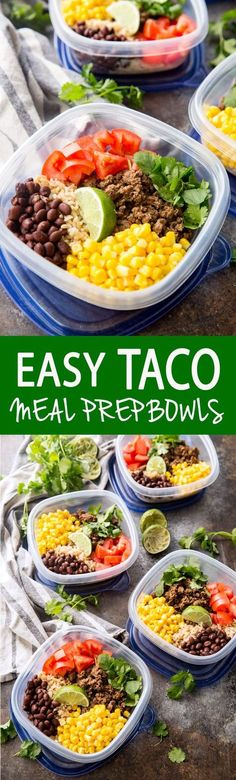 Taco Meal Prep Bowls 2019 Easy Taco Meal Prep Bowls with Salsa Verde Beef and extras like corn tomatoes cilantro and black beans. I swear these are better on the second day! The post Taco Meal Prep Bowls 2019 appeared first on Lunch Diy. Lunch Meal Prep, Meal Prep Bowls, Easy Meal Prep, Healthy Meal Prep, Healthy Snacks, Easy Meals, Healthy Eating, Healthy Recipes, Midweek Meals