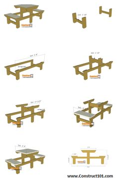 Woodworking Bench Plans, Wood Plans, Woodworking Projects Diy, Woodworking Furniture, Wood Projects, Build A Picnic Table, Outdoor Picnic Tables, Lifetime Tables, Outdoor Furniture Plans