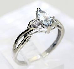 Marquise Aquamarine Gemstone and Diamond Accent Ring in 10K White Gold