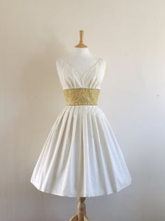 Ivory Satin and Gold Brocade Dress