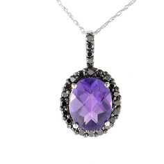 Pre-owned 10K White Gold Onyx and Amethyst Pendant ($270) ❤ liked on Polyvore featuring jewelry, pendants, white gold amethyst pendant, preowned jewelry, pre owned jewelry, charm pendant and white gold pendant