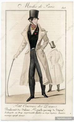 Original vintage published in 1827 Petit Courrier des Dames Modes de Paris, Men's Clothing — , Engravings 1800s Fashion, 19th Century Fashion, European Fashion, Victorian Fashion, Vintage Fashion, Mens Fashion, Magazine Mode, Pride And Prejudice, Historical Costume