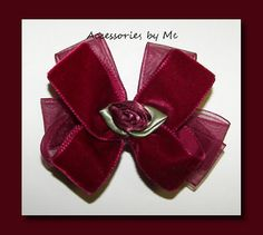 Wine Velvet Organza Floral Baby Hair Bow by accessoriesbyme