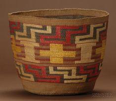 Northwest Coast Polychrome Twined Basket   Tlingit, c. 1900