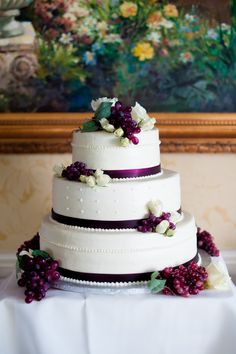 Cake coordinating with a wine themed wedding. @ Rebekahhoyt Photography