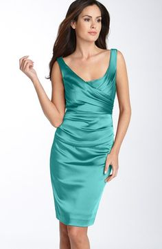 I feel like Joan Harris would approve of this dress ;) - Ivy & Blu for Maggy Boutique Ruched Stretch Satin Sheath Dress | Nordstrom - $158