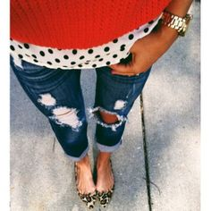 Polka dot blouse, ripped jeans, red sweater, leopard pointy flats, casual outfit