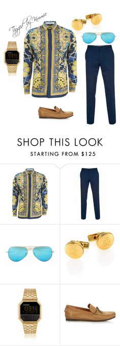 """""""Untitled #280"""" by taggedbykimmie15 on Polyvore featuring Versace, Paul Smith, Ray-Ban, Dunhill, Nixon, Tomas Maier, mens, men, men's wear and mens wear"""