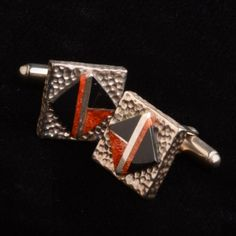 Coral and Onyx Cuff Links