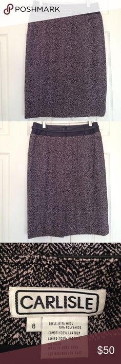 """Carlisle leather trim belted black white skirt Like new. Waist 15' hip 20"""" length 24.75"""".  81% wool. 10% polyamide.  Combo: 100% leather.   1st picture for styling, No Trade!!! carlisle Skirts"""
