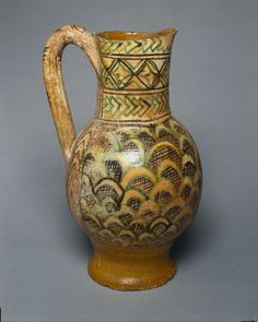 Jug with Scale Pattern  Italy, Siena, 14th century    Date: c. 1350    Medium: tin-glazed earthenware (majolica)