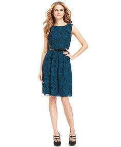 SL Fashions Dress, Sleeveless Belted Lace - Womens Dresses - Macy's