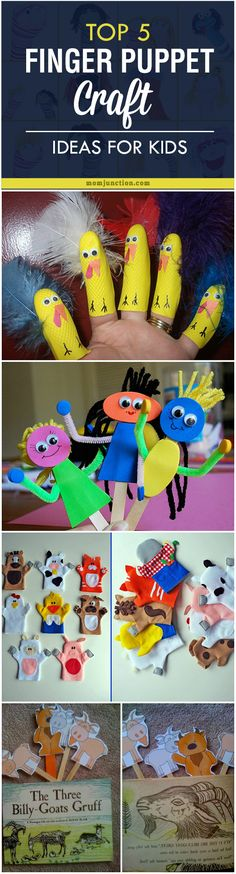 Top 5 Finger Puppet Craft Ideas For Your Kids: Pick your child's favorite story and create finger puppets with its characters to get more engrossed in the story and soon you may find your little one doing a puppet performance for you with his little magical fingers.