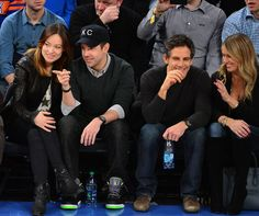 Olivia Wilde and Jason Sudeikis as they sat front row with Ben Stiller and his wife, Christine Taylor, while watching a Knicks game in February.