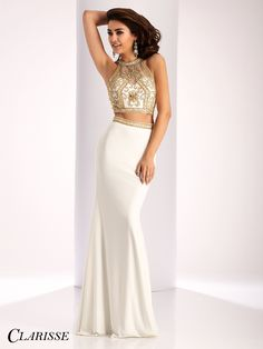 096404267 Clarisse Prom Dress 3006. Two piece fitted prom dress with beaded top and  sheer mesh
