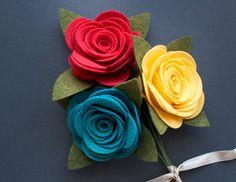 Felt Flowers Pretty Roses Set of 3 Raelin от SugarSnapBoutique