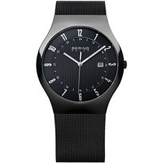 BERING 14640-222 Men's Solar Watch Black Dial Black Stainless Steel Mesh Band