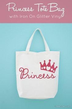 Princess Tote Bag with Cricut Iron On Glitter Vinyl via createcraftlove.com #ironon #cricut #princess #kidscrafts