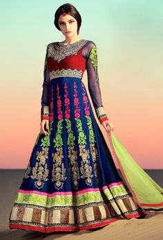 Royal Blue and Red Floor Length Anarkali