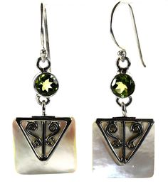 Land and Sea Green Peridot and White Shell Earrings - Providing a hint of color at the top is a round facet cut green peridot. Dangling below is a square white shell with a polished silver triangle accent on top.  http://simplybeautiful2012.com/land-and-sea-green-peridot-and-white-shell-earrings.html#