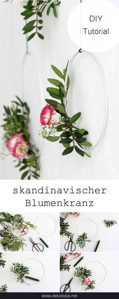 Simple floral wreaths in the Scandinavian style - DIY-Ideen mit Pflanzen - Donut decor Hand Flowers, Simple Flowers, Metal Flowers, Diy Flowers, Donut Decorations, Heart Decorations, Diy Wedding Decorations, Artificial Bridal Bouquets, Artificial Flowers