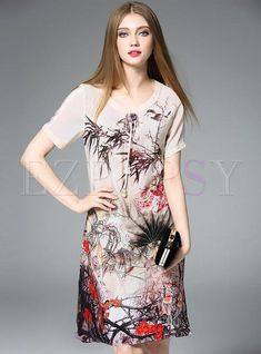 #AdoreWe #Ezpopsy - #Ezpopsy Silk Stylish Print O-Neck Short Sleeve Shift Dress - AdoreWe.com
