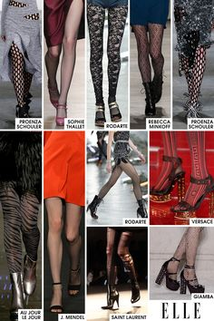 Continuing the covered legs mantra, tights have also had a major place on the runways. At Saint Laurent, ripped pairs for the party girl were seen under barely-there dresses. At Giamba, a sweet Swiss dot accompanied tame cocktail attire, and at Sophie Theallet, a classic fishnet lent a retro vibe to the idea. Personally, I have never been a fan of tights but I have to admit the runways swayed me this season so perhaps the next Polar Vortex won't mean pants-only.   - ELLE.com