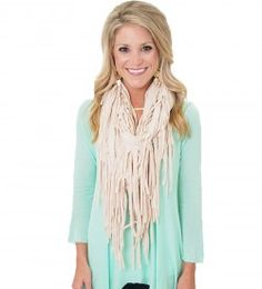 Tshirt Fringe Scarfs! available in tons of colors in stores and online! www.shopmaterialgirls.com