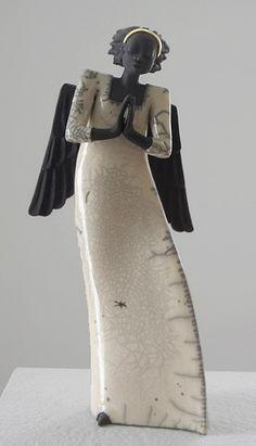 Ceramic Angel Raku Keramik figure  Margit Hohenberger
