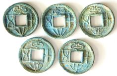 "Xin Dynasty (7 AD), Wang Mang ""Da Quan Wu Shi"", 5 Pcs, Early Thick Mintage Variety, UNC condition unearthed from jar with beautiful blue rustiness, Rare 新朝, 王莽铸 ""大泉五十"", 早期厚重版, 5枚, 未流通罐装蓝锈美品, 稀少"